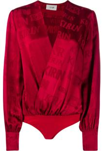 Kirin Body De Cetim Com Estampa De Logo - Vermelho