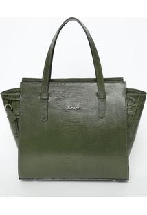 Bolsa Em Couro Texturizado Com Tag- Verde Militar & Pratiã³Dice