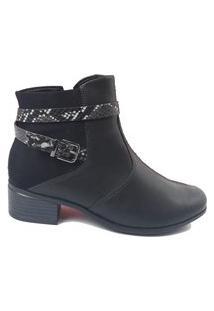 Bota Feminina Comfortflex Ankle Boot 2081301 S/ Baixo Preto
