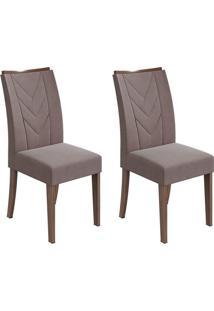 Conjunto De Cadeiras De Jantar 2 Atacama Veludo Imbuia E Chocolate