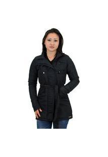 Casaco Trench Coat Acolchoado Feminino Inverno Preto