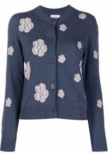 Barrie Cardigan Com Bordado Floral - Azul