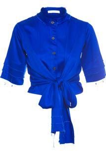 Camisa Feminina Ana Com Laço - Azul