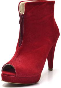 Ankle Boot Flor Da Pele Nobucado Vermelho