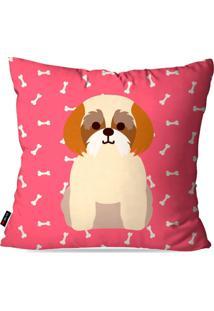 Capa De Almofada Pump Up Avulsa Pink Cachorrinha Frente Costa 45X45Cm