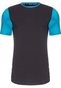 Camiseta Masculina Baseline Long Line - Preto E Azul