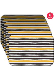 Jogo Americano Love Decor Wevans Abstrato Stripes Kit Com 6 Pçs
