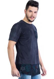 Camiseta Carlan Longline Floral Estonada Com Bolso Preta