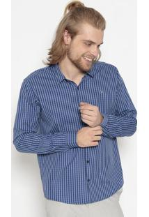 Camisa Slim Fit Xadrez- Azul Escuro & Azulogochi