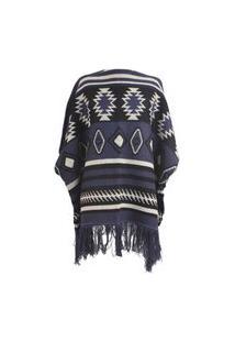 Poncho- Pashmina- 100% Acrilico One Size – Azul