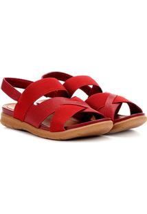Sandália Usaflex Multi Tiras Feminina - Feminino-Vermelho