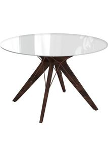 Mesa De Jantar Redonda Spacy Off White E Café 120 Cm