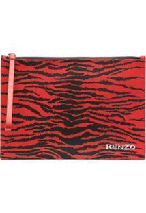 Kenzo Clutch Com Estampa De Tigre - Vermelho