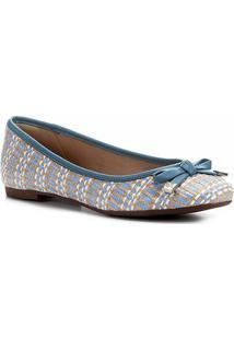 Sapatilha Shoestock Laço Ráfia - Feminino-Azul+Branco