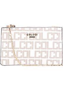 Bolsa Colcci Mini Bag Best Seller Pvc Monograma Alça Corrente Feminina - Feminino-Off White