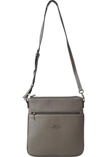 Bolsa De Couro Recuo Fashion Bag Transversal Cinza