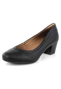 Sapato Scarpin Bico Redondo Conforto New Pele Preto