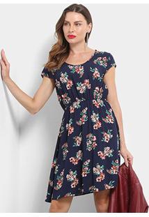 Vestido Pérola Floral Evasê - Feminino-Marinho