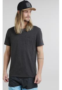 Camiseta Masculina Básica Mescla Manga Curta Gola Careca Cinza Mescla Escuro