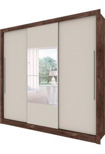 Guarda-Roupa Casal Com Espelho Genebra Flex 3 Pt 4 Gv Cumaru Rústico E Off White