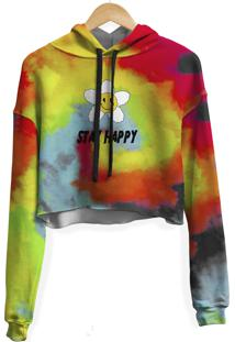 Blusa Cropped Moletom Feminina Stay Happy Tie Dye Md31 - Kanui