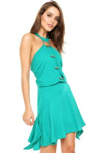 Vestido Triton Curto Blusê Verde
