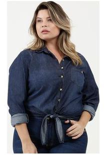 Camisa Feminina Jeans Plus Size Manga Longa