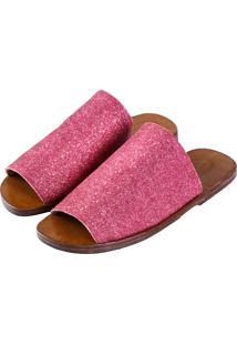 Sandália Sapatos Elisa Marchi Chinelo Itália Glitter Rosa