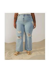 Calça Reta Jeans Com Puidos Curve & Plus Size Azul