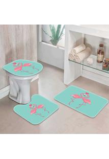 Jogo Tapetes Para Banheiro Flamingos One - Único
