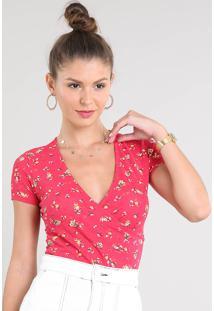 Blusa Feminina Cropped Transpassada Estampada Floral Com Franzido Manga Curta Decote V Vermelha