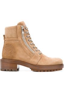 Balmain Ankle Boot De Couro E Camurça Com Cadarço - Neutro