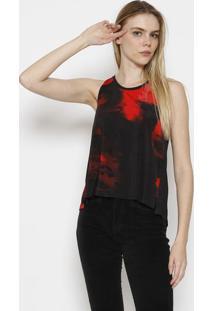 Blusa Abstrata Com Fenda - Vermelha & Pretacalvin Klein