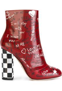 Dolce & Gabbana Ankle Boot Com Estampa Grafitada - Vermelho