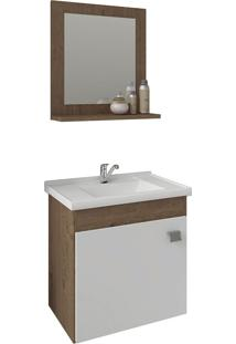 Conjunto Para Banheiro Com 1 Porta E Cuba Iris-Mgm - Amendoa / Branco