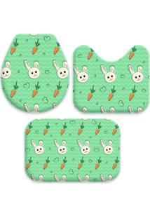 Jogo Tapetes Love Decor Para Banheiro Cute Easter Verde Único - Kanui