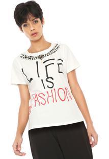 Camiseta Queens Paris Pérolas Off-White