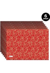 Jogo Americano Mdecore Natal Estrelas 40X28 Cm Vermelho 6Pçs