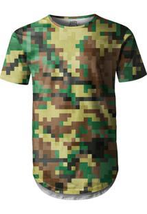 Camiseta Longline Over Fame Pixels Camuflado