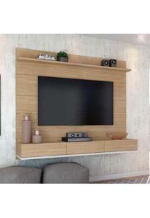 Painel Para Tv 55 Polegadas Winterfel Natural Carvalho E Branco Acetinado 180 Cm