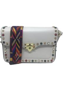 Bolsa Importada Transversal Alça Colorida Sys Fashion 8318 Branco