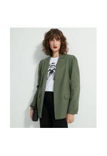Blazer Alongado Liso Com Pregas Nos Ombros | Cortelle | Verde | 38