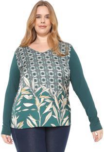 Blusa Cativa Plus Estampada Verde