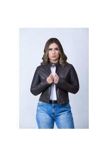 Jaqueta De Couro Parra Couros Feminina Bela Preta