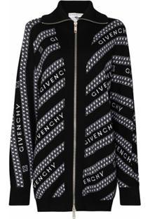 Givenchy Cardigan Com Detalhe De Corrente E Logo - Preto