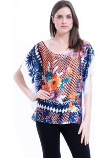 Blusa 101 Resort Wear Poncho Cetim Estampado Floral Laranja