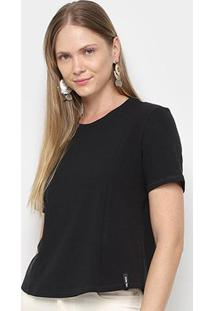 Camiseta Lança Perfume Recortes Feminina - Feminino-Preto