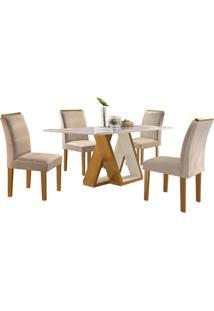 Mesa De Jantar Belle Com 4 Cadeiras Sued Animale Bege