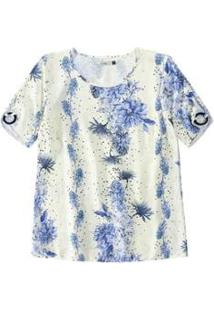 Blusa Malwee Floral Aplicação Feminina - Feminino-Branco