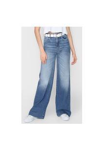 Calça Jeans Colcci Pantalona Estonada Azul